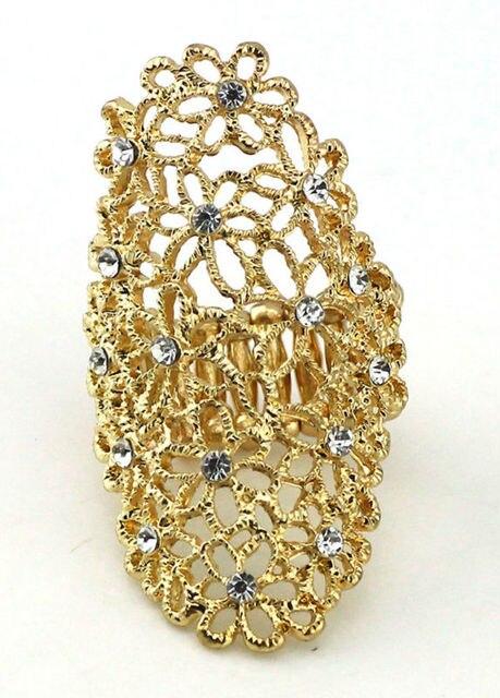 line Shop Gold vintage Hollow design Long Finger Rings Jewelry
