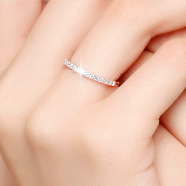 Shiny Crystal Rings for Women Silver Color Jewelry Girls Adjustable Size Open Finger Rings 4