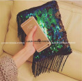 Designer Sequin Women handbag Fashion runway Clutch with tassel Free shipping