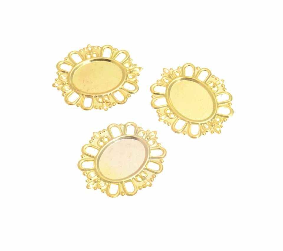 100pcs Gold Plated Filigree Cabochon Setting Wraps Connectors Crafts Decoration