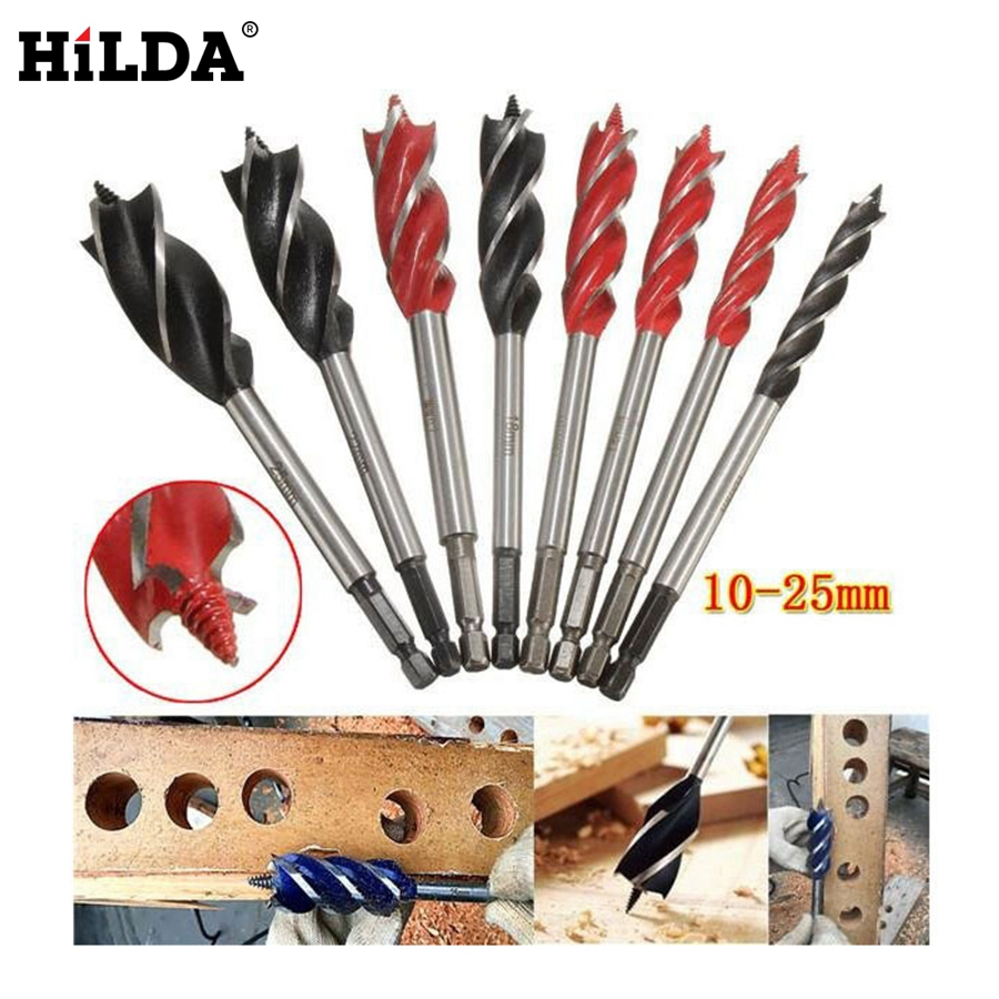 HILDA 8pcs/set 4 Cutters 10-25mm Center Drill Bit For Wood Cut Suit for woodworking and Lock Reapair Set 1 2 5 8 round nose bit for wood slotting milling cutters woodworking router bits
