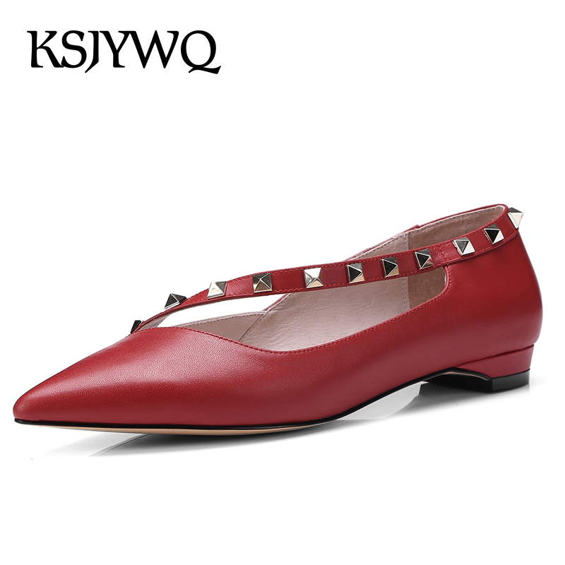KSJYWQ 2018 Women's Genuine Leather Low Pumps Summer Style Red Rivet Shoes Pointed-toe 2 CM Heels Wedding Shoe Box Packing 18-60 ksjywq genuine leather flowers women sandals sexy exposed toe white shoes summer style clip toe shoes woman box packing a2571