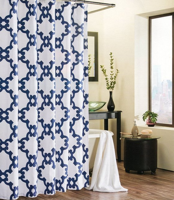 Memory Home Shower Curtain Trellis Moroccan Tile Quatrefoil Lattic Waterproof Polyester Fabric Bathroom