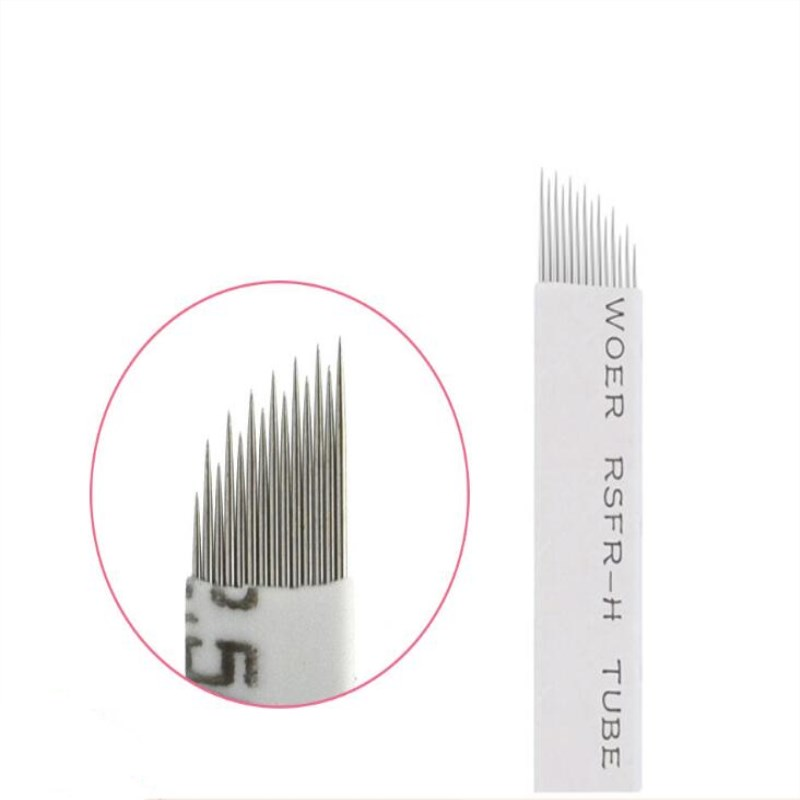 Wave  14 Pins Permanent Makeup Eyebrow Tatoo Blade Microblading Needles  Wire Drawing Eyebrow Needle For Tattoo Manual