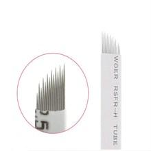 Купить с кэшбэком 14 Pin Permanent Makeup Eyebrow Tatoo Blade Microblading Needles  Wire drawing eyebrow needle