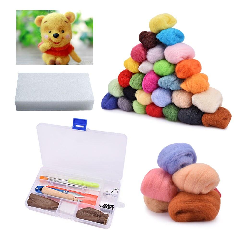Needles Felting Starter Kit Handcraft Mat Tool Set 36 Color Roving Wool Fibers