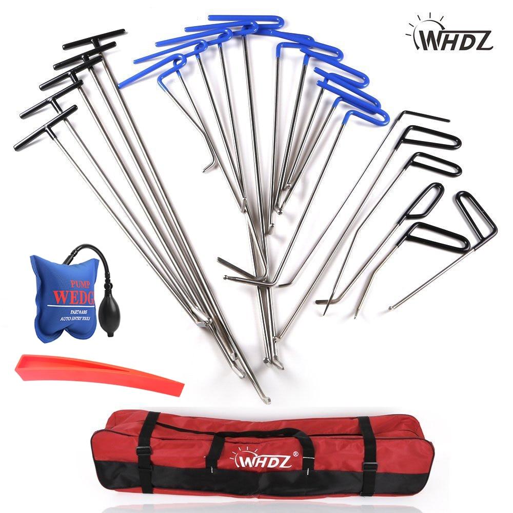 WHDZ Dent Repair pump wedge Tools Red Repair wedge Dent Hail Removal Repair Tools PDR Hook Tools Push Rod PDR Repair Tools set