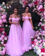 2017 New Charming Hotpink Bridesmaid Dress Off Shoulder Short Sleeve Lace Tulle A Line Party Gowns Vestidos de Fiesta Custom
