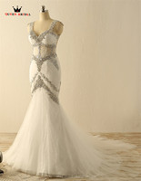 Custom Made Mermaid V Neck Backless Crystal Beading Sexy Long Women Wedding Dresses Bridal Gowns Vestidos