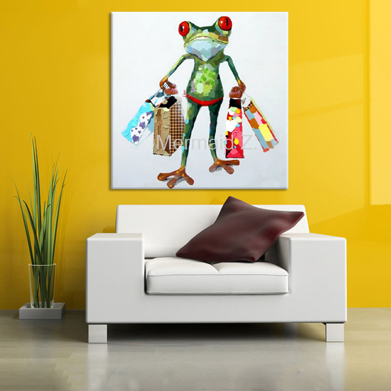 Free Shipping Best Seller shopping Frog Oil Painting Artist Hand painted High Quality Colorful Frog Oil Paintings ForLiving Room