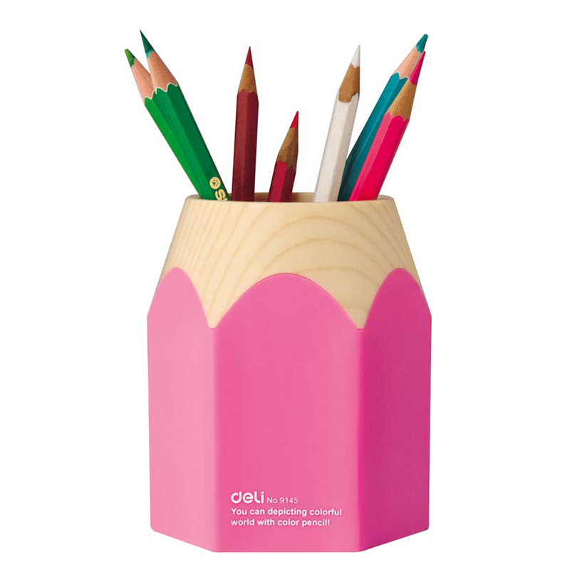 ac39a6effe0 Deli NO.9145 Cute Pencil Style Desktop Organizer Pen Holder Stand ...