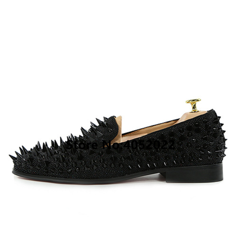 SHOOEGLE-Newest-Men-Handmade-Studs-Spike-Shoes-Black-Sliver-Gold-Glitter-Loafers-Shoes-Runway-Shining-Rivets