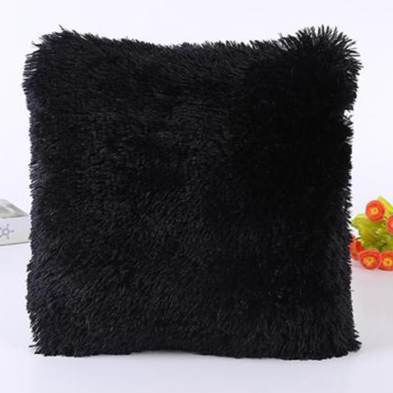 Solid Soft Plush Faux Fur Wholesale Decorative Cushion Cover Throw Pillows For Sofa Car Chair Hotel Home Decoration