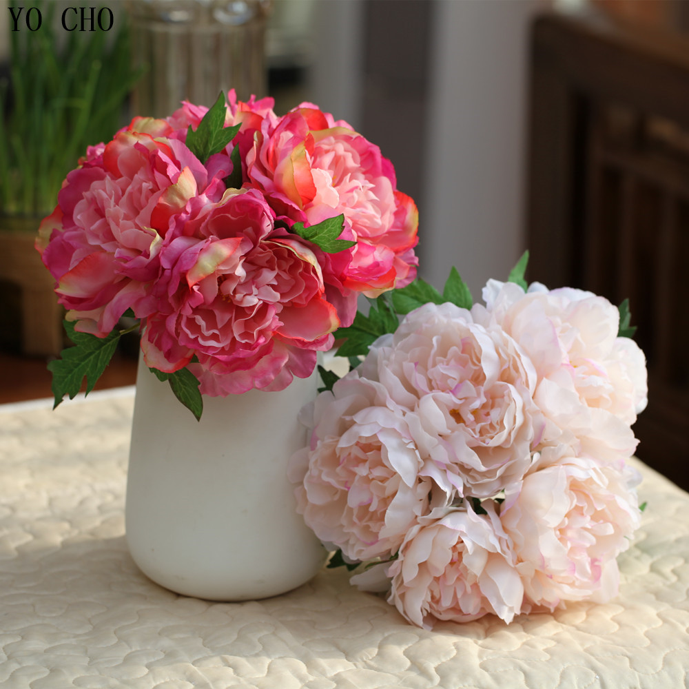 5 Headsbouquet Large Artificial Peony Bouquet Leaves Real Touch