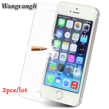 2pcs Front Tempered Glass for iPhone 5 5s Anti-scratch Screen Protective Glass on the for iPhone 5s 2.5D protective film стоимость