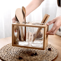 Kitchen Organizer Glass Chopsticks Box with Wooden Hoder Home Chopsticks Holder Japan Style Simple Spoon Fork Storage Pot