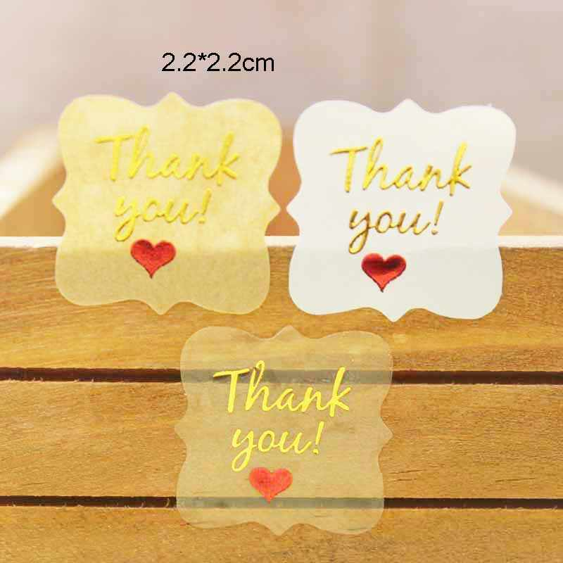 100PCS Diy thank you  labels red heart gold foil thank you sticker labels gift /candy favors thank you adhesive labels 2.2*2.2cm