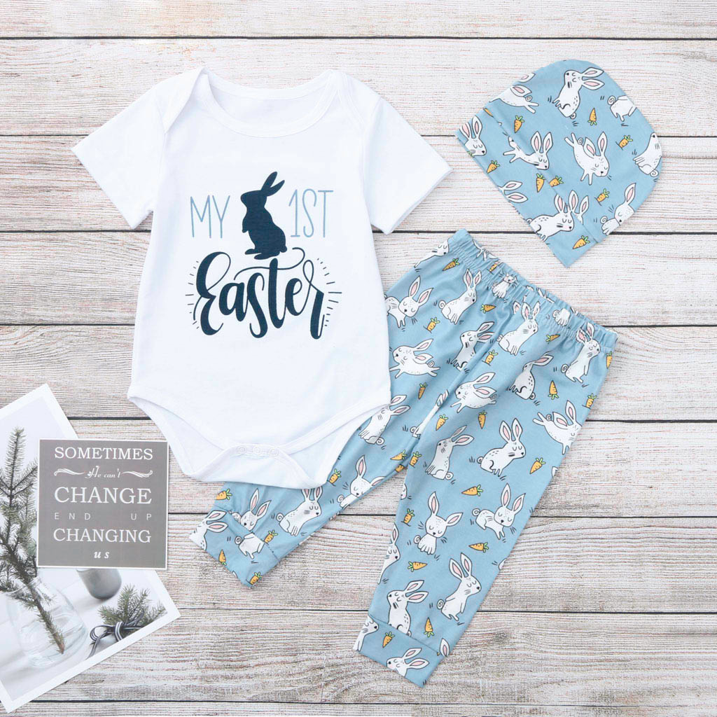 Pants Clothes Set 2PCS Outfit Clothes for Infant Baby Girls Cute Cartoon Rabbit Romper Jumpsuit