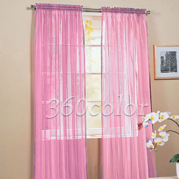 2 Panels Pink Solid Sheer Voile Window Panel Curtain Drape Treatment Scarf 60 X84