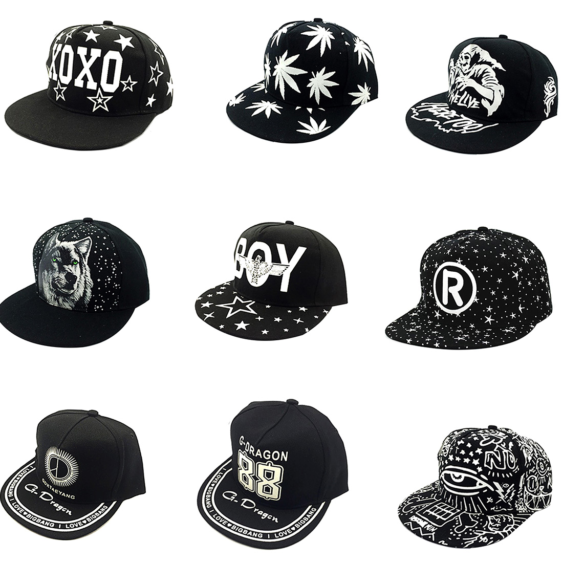 2017 Fashion Adjustable bones shape shiny hat letters Snapback hats man women hip hop street tide style baseball cap