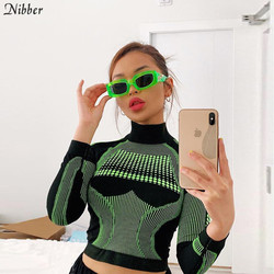 Nibber hot sale Women Basic T-shirt Tops Autumn winter Active Wear Slim Long sleeve T-shirt popular green blue wild Sports top
