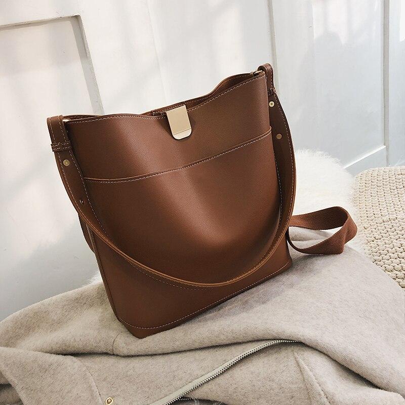 2 Pcs/Set Pure Color Bucket Bags For Women Handbags And Purses Crossbody Bag Leather Elegant Shoulder Bags