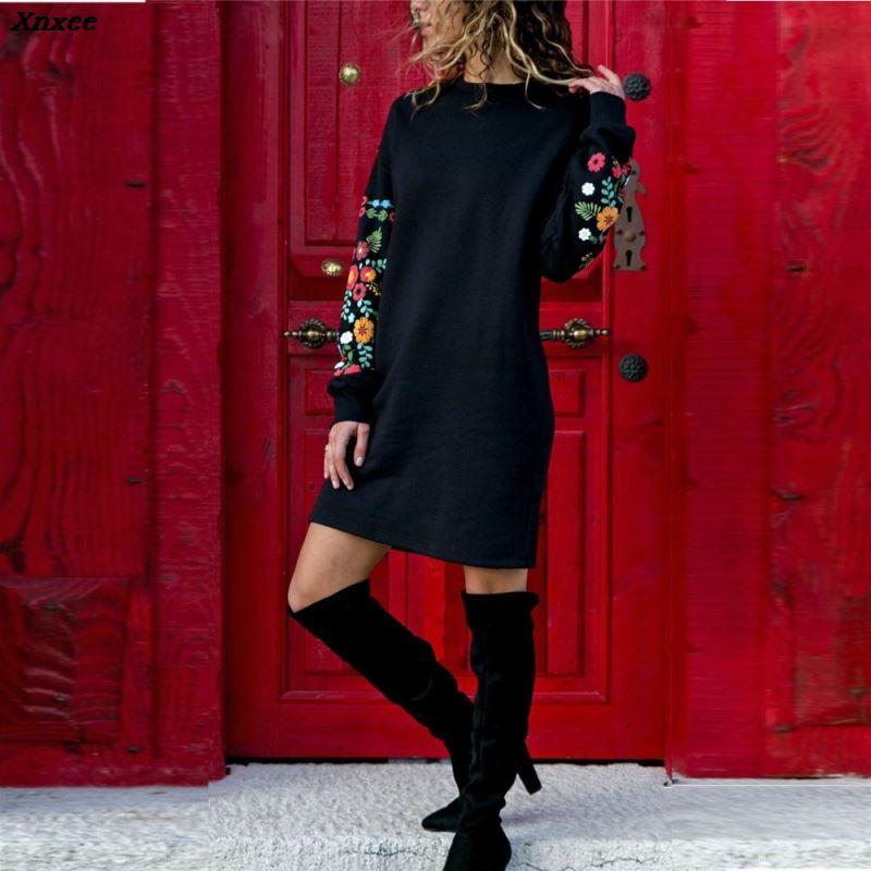Warm Streetwear Dress Long-Sleeve Floral-Print Women Black O-Neck Vestids Loose Xnxee