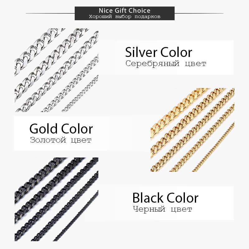 Davielsee mężczyzna naszyjnik łańcuch ze stali nierdzewnej złoty srebrny czarny hurtownie 2019 naszyjnik dla mężczyzn biżuteria prezent 3 5 7 9 11mm LKNM07