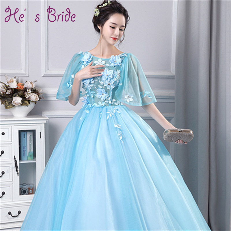 2017 New Arrival Light Blue Scoop Neck Lace Up Evening Dress Robe De Soiree  Modern Sweet Classic Sexy Prom Dress Vesta De Festa ec94357d1d2d
