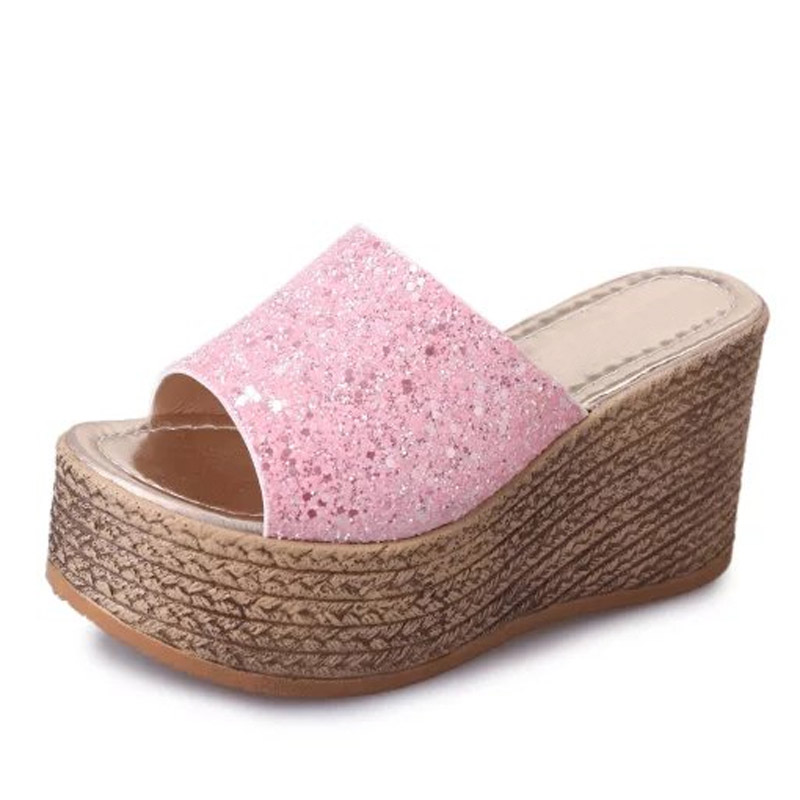 LANSHULAN Bling Glitters Slippers 2017 Summer Flip Flops Platform  Shoes Woman Creepers Slip On Flats Casual Wedges Gold lanshulan wedges gladiator sandals 2017 summer peep toe platform slippers casual glitters shoes woman slip on flats creepers