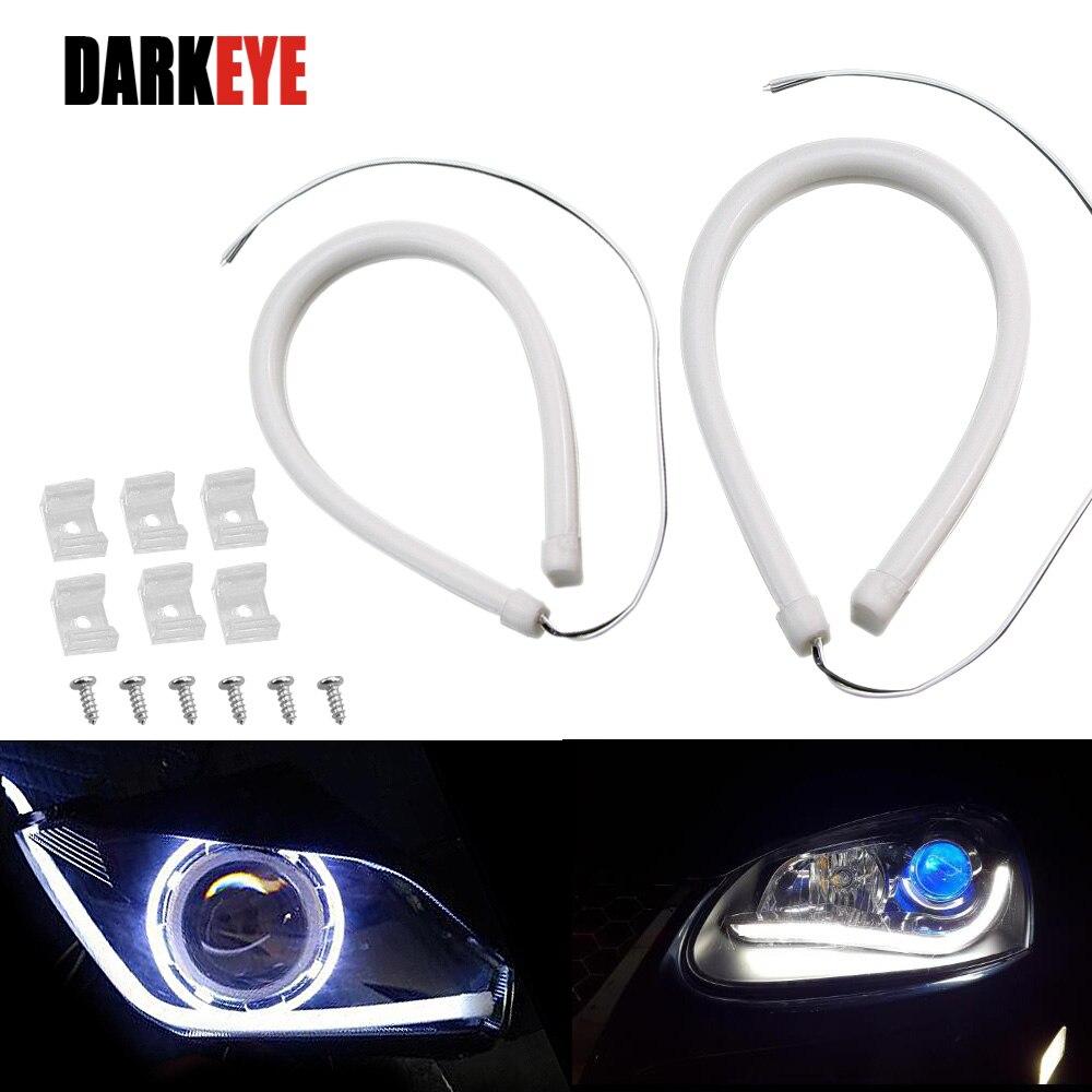 2Pcs 45CM LED Car DRL Daytime Running Lamp Strip Light Flexible Soft Tube KK