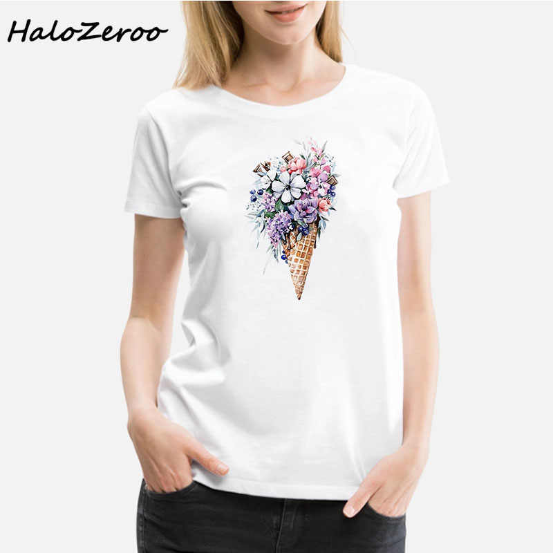 Summer Clothes for Women Short Sleeve Tops Ice Cream and Flower Printed O- Neck t shirt Casual Harajuku t shirt Women