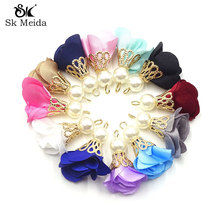 100pcs Fashion Flower Tassel Charm For DIY Earring Necklace Bracelet With Gold Color Plated Bead Caps And Imitation Pearls ST-39