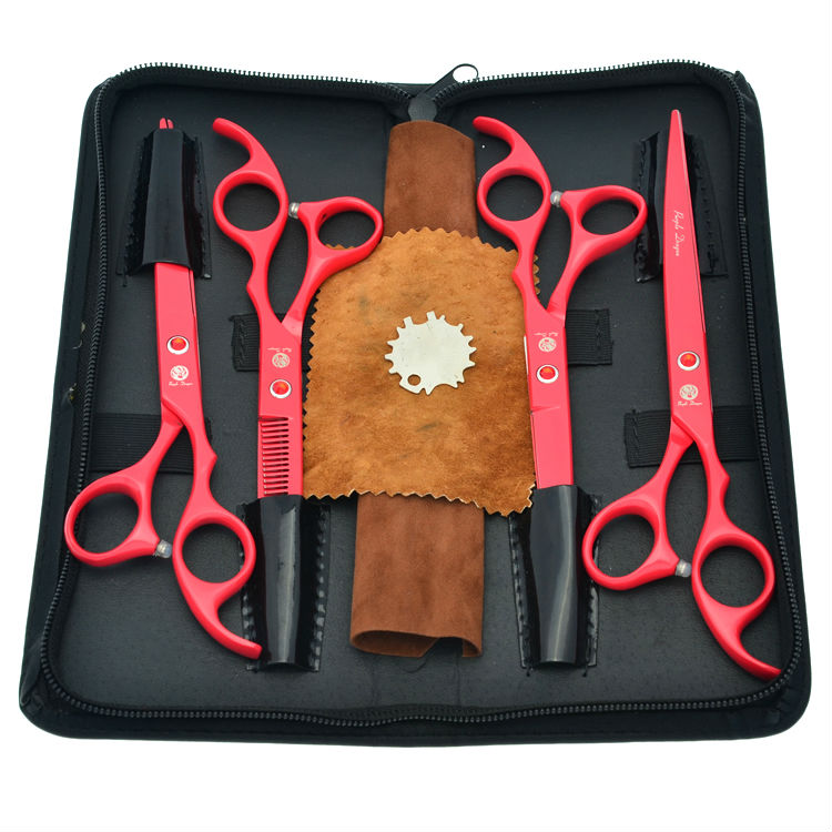 7.0 Red Animals Hair Scissors Pet Dog Grooming Scissors Set Cutting & Thinning & Curved Hair Shears, LZS03757.0 Red Animals Hair Scissors Pet Dog Grooming Scissors Set Cutting & Thinning & Curved Hair Shears, LZS0375