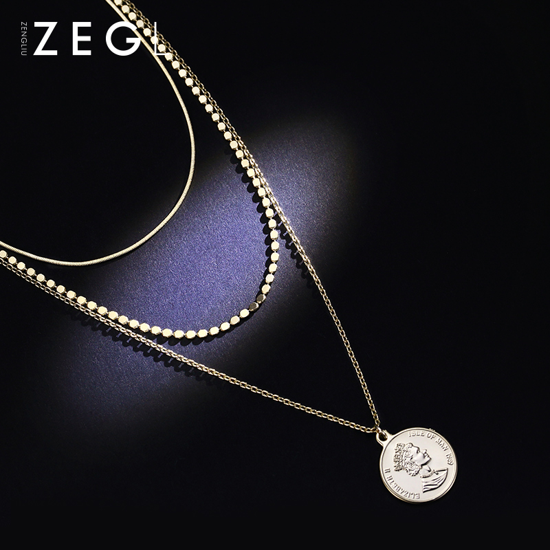 ZEGL hip hop multi-layer coin round necklace for women clavicle chain personality portrait stack double-layer accessories