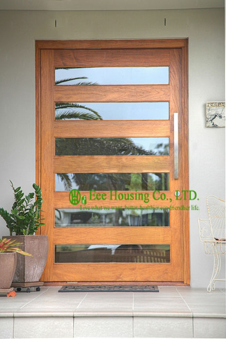 Wood pivot hinge doors 6mm clear glass entry door for for House entry doors sale