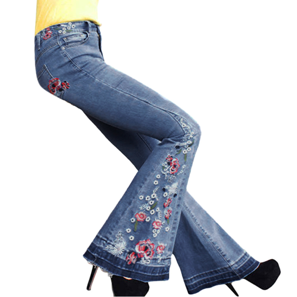Pantalones Vaqueros Harajuku Elasticos Sueltos De Tela De Mezclilla Para Mujer Pantalones Informales Bordados Pantalones Acampanados Talla Grande E Pantalones Vaqueros Aliexpress