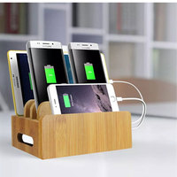 Creative Charging Storage Box Bamboo Charging Station Dock & Organizer Storage Box for Phone ipad Multi Device Charging Stand
