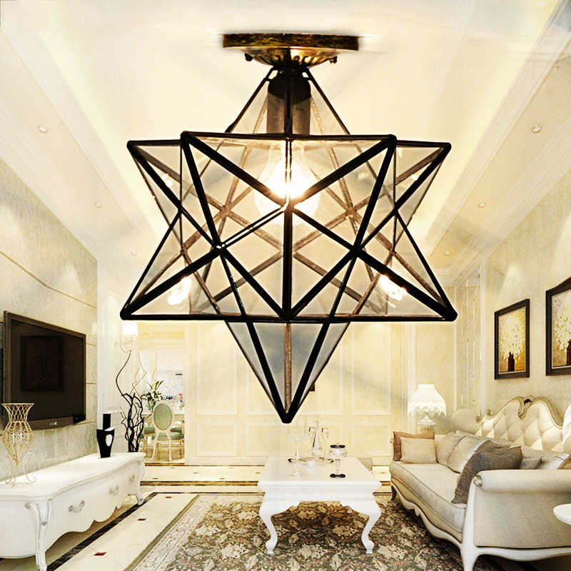 Лофт винтажный подвесной светильник свет, стрельба звезда стекло Тиффани освещение потолок для дома прохода коридора крыльцо Магазин Бар Лофт кафе