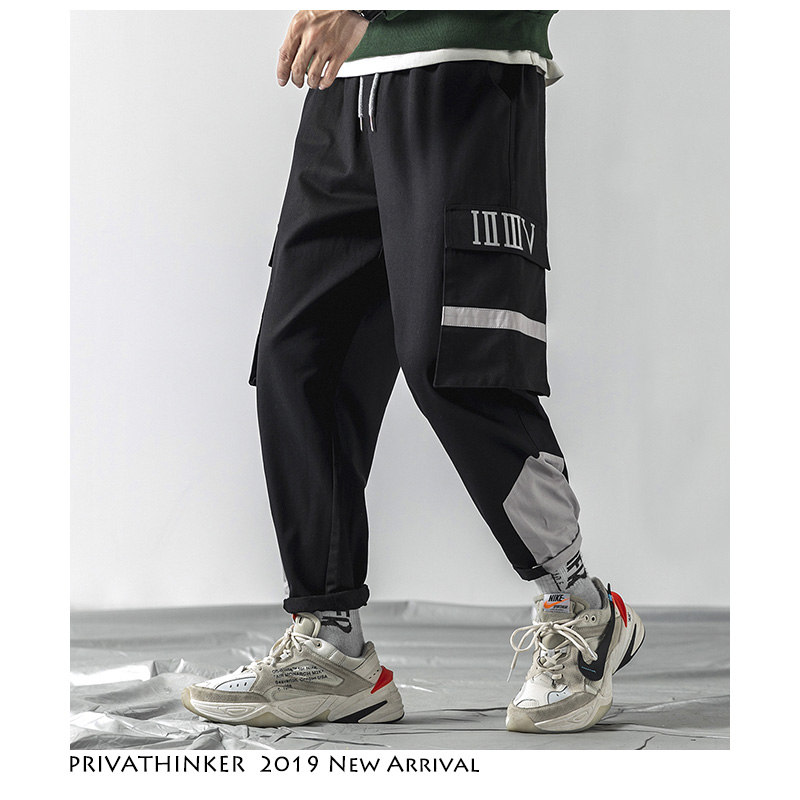 Privathinker Men Patchwork Joggers Pants Fashion 2019 Mens Hip Hop Black Cargo Pants Overalls Men Waist Elastic Pants Plus Size
