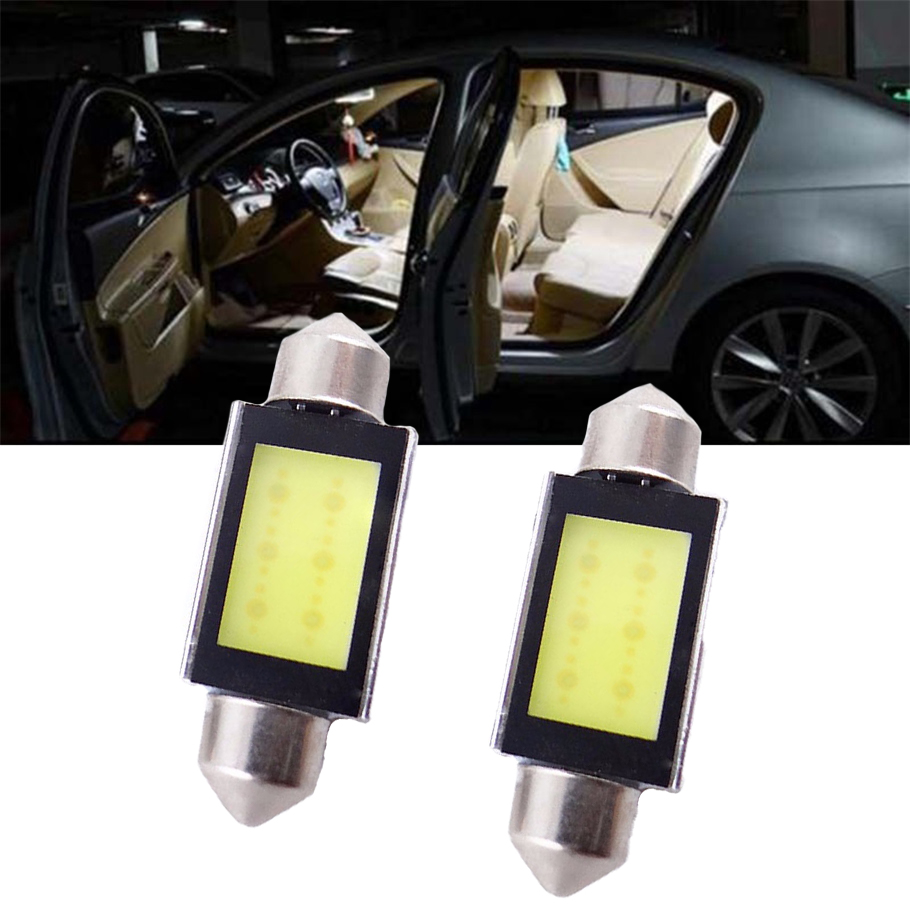New 2pcs Xenon White 36mm 12V 4W Car COB LED License Plate Light 6418 C5W LED Bulbs License lights Plate Light Free Shipping smaart v 7 new license