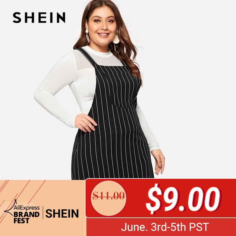 SHEIN плюс размер черное Полосатое мини-платье на бретельках женское 2019 элегантное стильное ТРАПЕЦИЕВИДНОЕ короткое платье