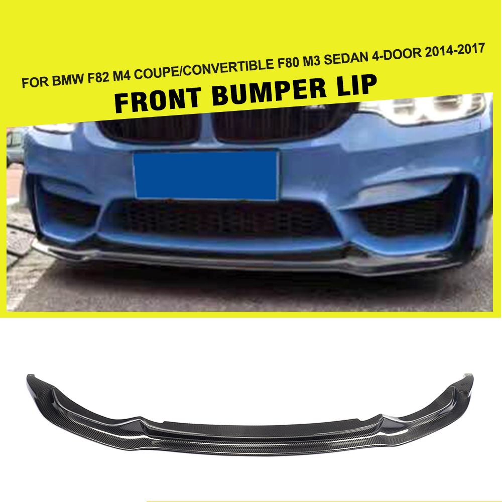 M3 M4 V-Styling Carbon Fiber Front Bumper Lip Spoiler for BMW F80 M3 & F82 M4 2014-2017 ( Sedan & Coupe & Convertible )