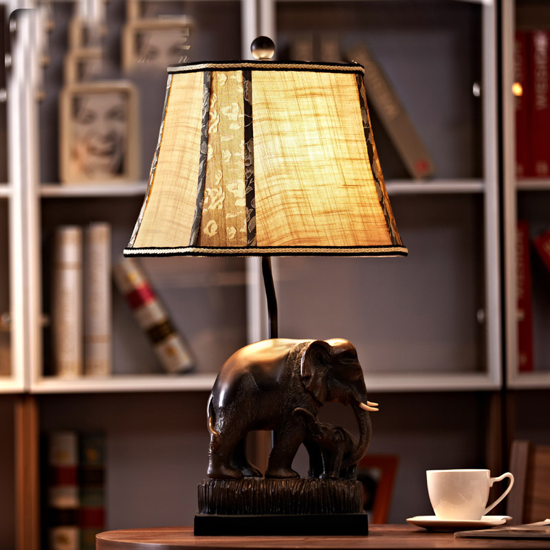 European Vintage Bedside Table Lamp Luxury Wedding Decoration Fabric Shade Desk  Lamp Brown Resin Elephant Table Lamp Antique In Table Lamps From Lights ...