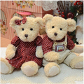 2 pieces/Set Couple Teddy Bear With Clothes Soft Plush Animal Toy High Quality Wedding Gift Valentine Gift