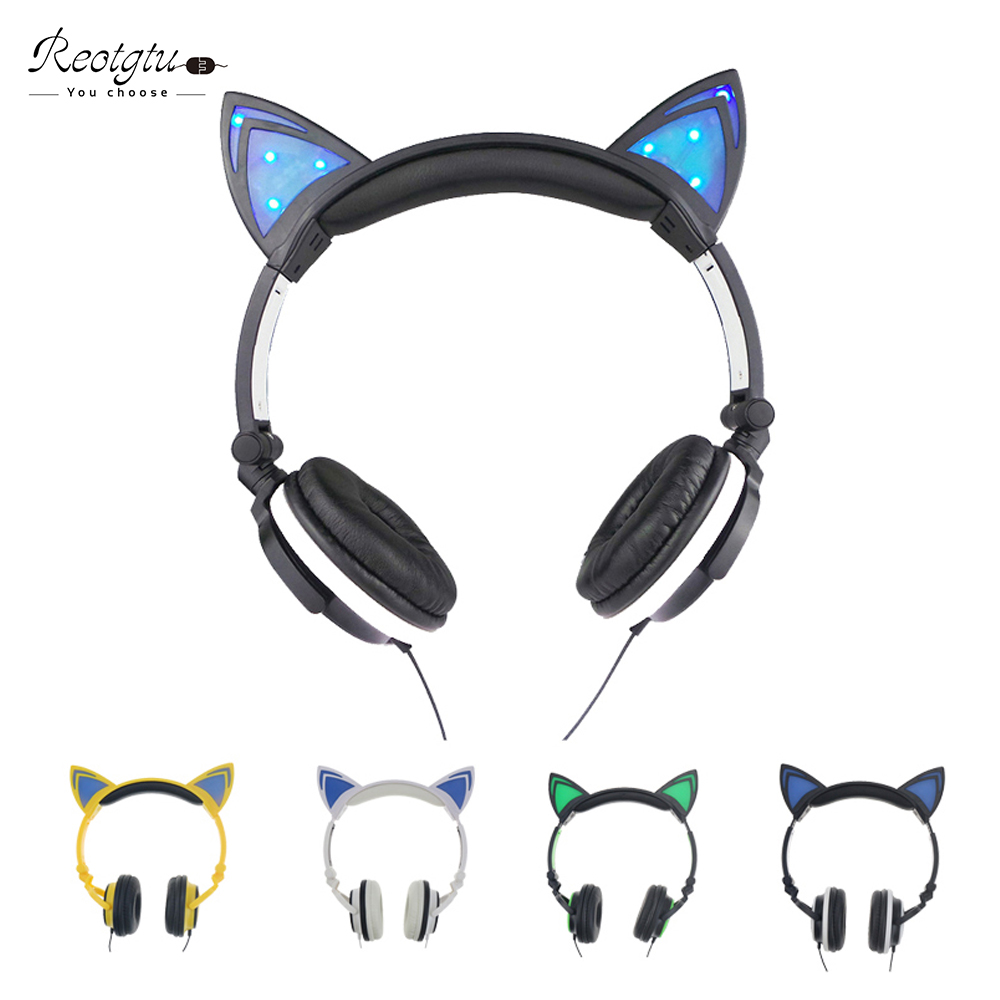 Foldable Flashing Glowing cat ear headphones Gaming Headset Earphone with LED For PC Laptop Computer phone gift for girl or man