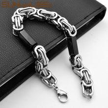 SUNNERLEES Fashion Jewelry Stainless Steel Bracelet 9mm Black Silver Color Geometric Byzantine Link Chain For Men Women SC87 B