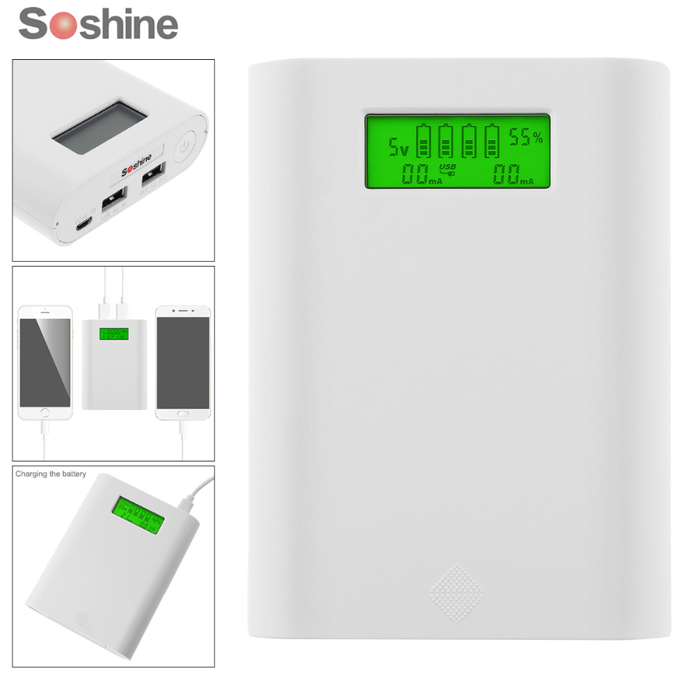 Soshine E3S 18650 Portable Power Source Bank with Dual USB + Smart Intelligent 18650 Battery Charger with LCD Display long straight two tone orange lace front ombre cosplay party wig