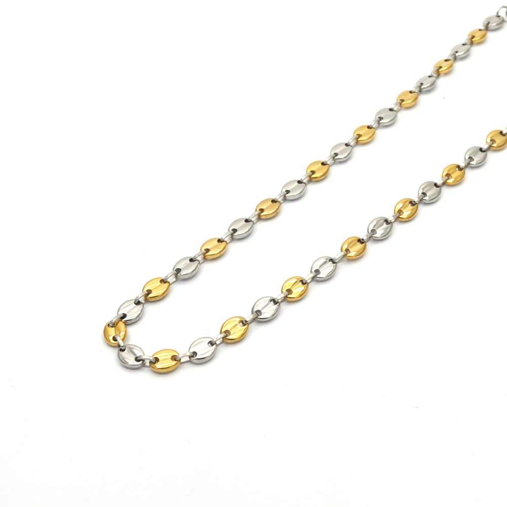 mujer and hombre necklace jewelry wholesale stainless steel necklace silver with gold color small coffee bean necklace N04293