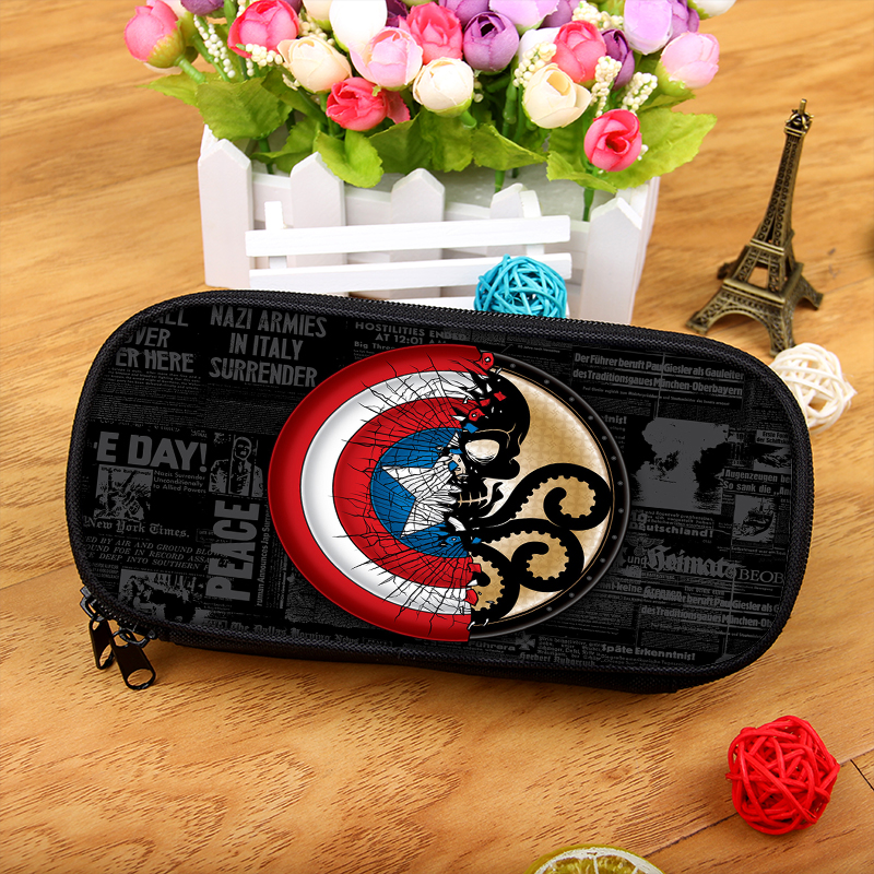 The Avengers Captain America Boy Girl Cartoon Pencil Case Bag School Pouches Children Student Pen Bag Kids Purse Wallet стоимость